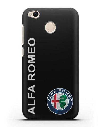 Чехол с надписью Alfa Romeo и логотипом силикон черный для Xiaomi Redmi 4X