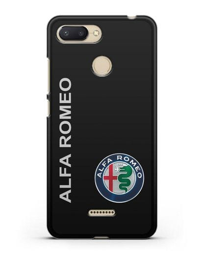 Чехол с надписью Alfa Romeo и логотипом силикон черный для Xiaomi Redmi 6