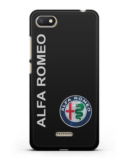 Чехол с надписью Alfa Romeo и логотипом силикон черный для Xiaomi Redmi 6A