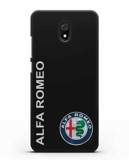 Чехол с надписью Alfa Romeo и логотипом силикон черный для Xiaomi Redmi 8A