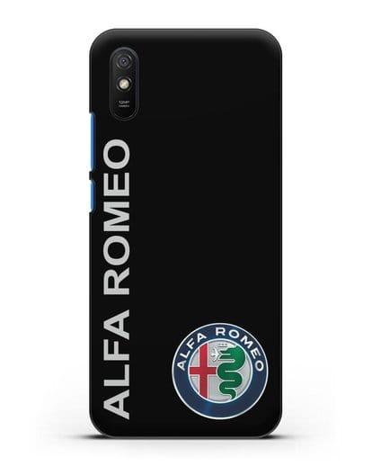 Чехол с надписью Alfa Romeo и логотипом силикон черный для Xiaomi Redmi 9A