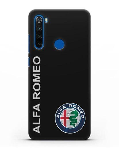 Чехол с надписью Alfa Romeo и логотипом силикон черный для Xiaomi Redmi Note 8T