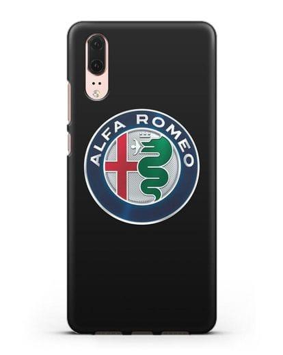 Чехол с логотипом Alfa Romeo силикон черный для Huawei P20