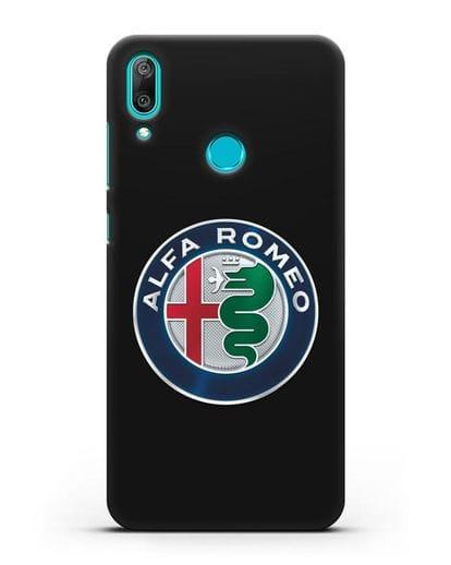 Чехол с логотипом Alfa Romeo силикон черный для Huawei Y7 2019
