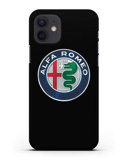 Чехол с логотипом Alfa Romeo силикон черный для iPhone 12