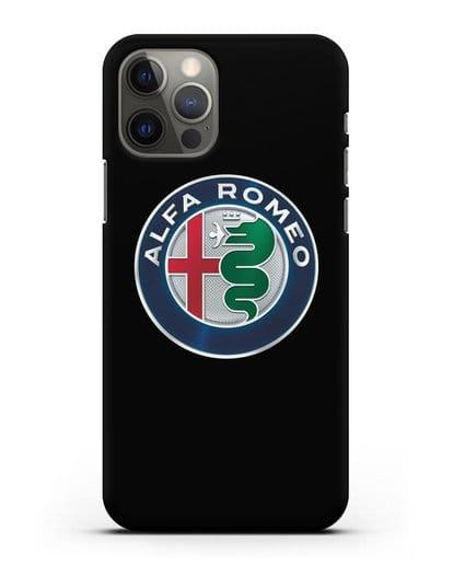Чехол с логотипом Alfa Romeo силикон черный для iPhone 12 Pro