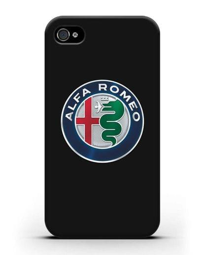 Чехол с логотипом Alfa Romeo силикон черный для iPhone 4/4s