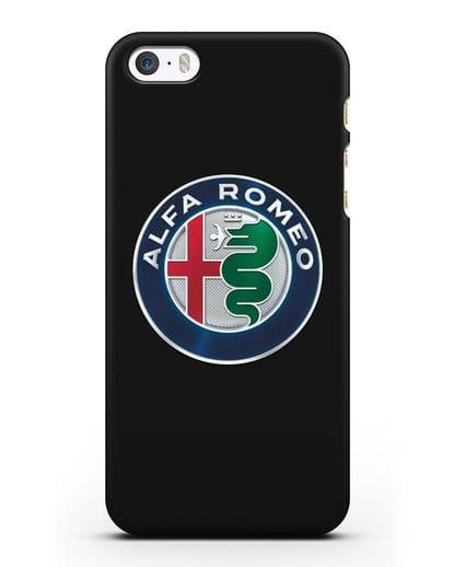 Чехол с логотипом Alfa Romeo силикон черный для iPhone 5/5s/SE