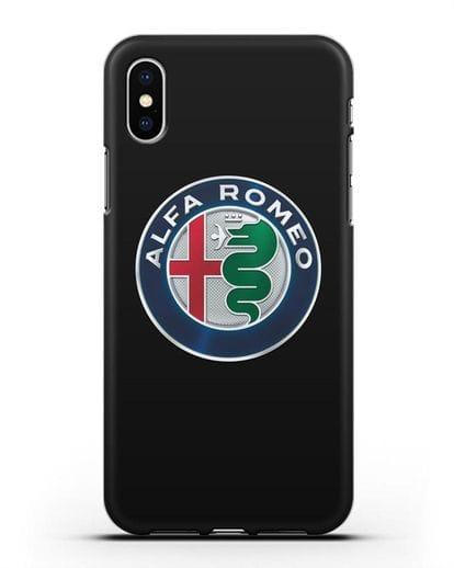 Чехол с логотипом Alfa Romeo силикон черный для iPhone X