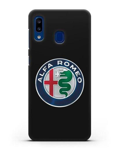 Чехол с логотипом Alfa Romeo силикон черный для Samsung Galaxy A20 [SM-A205FN]