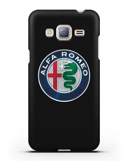 Чехол с логотипом Alfa Romeo силикон черный для Samsung Galaxy J3 2016 [SM-J320F]