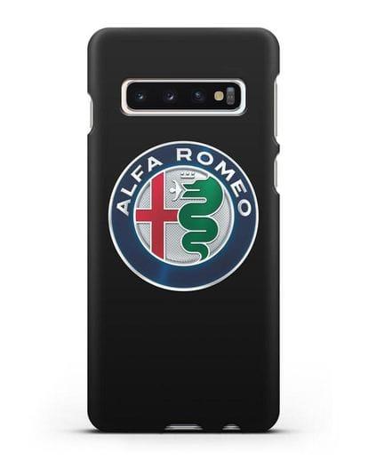 Чехол с логотипом Alfa Romeo силикон черный для Samsung Galaxy S10 Plus [SM-G975F]