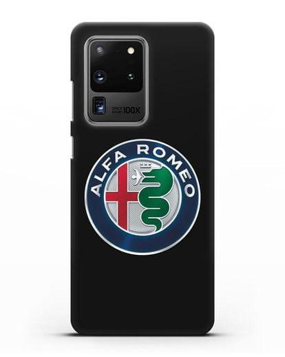 Чехол с логотипом Alfa Romeo силикон черный для Samsung Galaxy S20 Ultra [SM-G988B]
