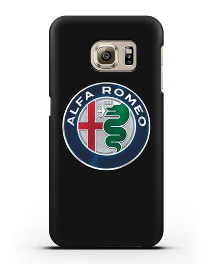 Чехол с логотипом Alfa Romeo силикон черный для Samsung Galaxy S6 Edge [SM-G925F]