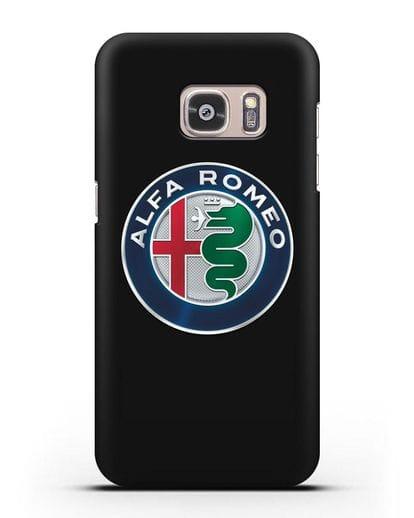 Чехол с логотипом Alfa Romeo силикон черный для Samsung Galaxy S7 Edge [SM-G935F]