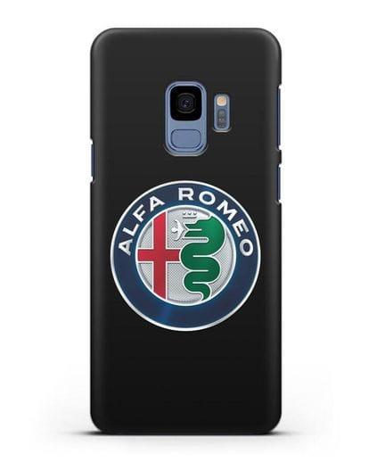 Чехол с логотипом Alfa Romeo силикон черный для Samsung Galaxy S9 [SM-G960F]