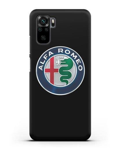 Чехол с логотипом Alfa Romeo силикон черный для Xiaomi Redmi Note 10