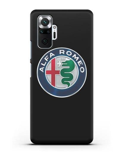 Чехол с логотипом Alfa Romeo силикон черный для Xiaomi Redmi Note 10 Pro