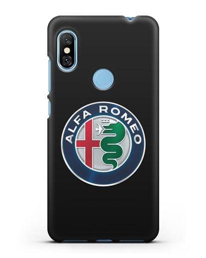 Чехол с логотипом Alfa Romeo силикон черный для Xiaomi Redmi Note 6 Pro