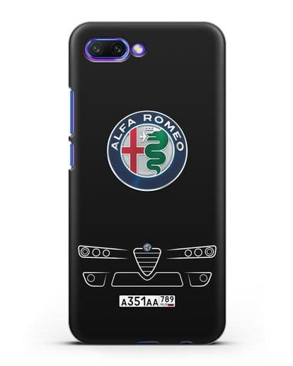 Чехол Alfa Romeo с номерным знаком силикон черный для Honor 10