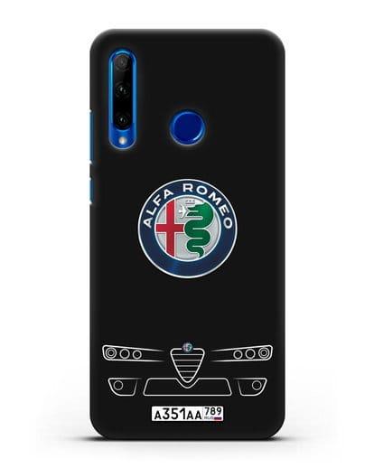 Чехол Alfa Romeo с номерным знаком силикон черный для Honor 10i
