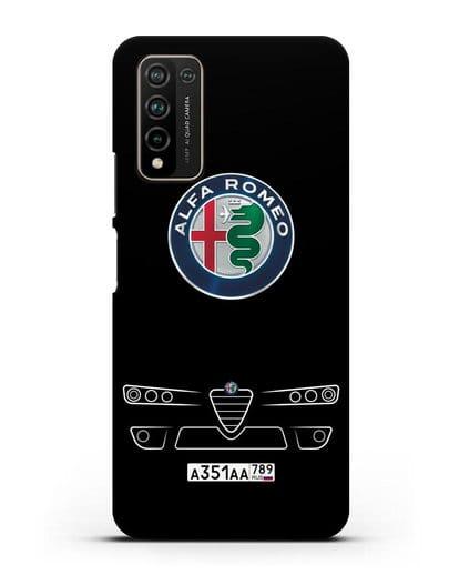 Чехол Alfa Romeo с номерным знаком силикон черный для Honor 10X Lite