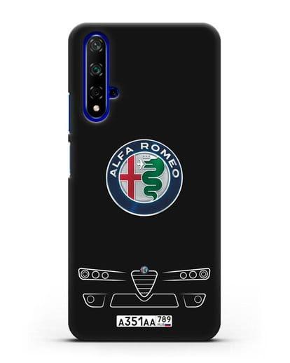 Чехол Alfa Romeo с номерным знаком силикон черный для Honor 20