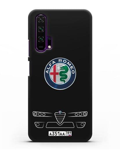 Чехол Alfa Romeo с номерным знаком силикон черный для Honor 20 Pro