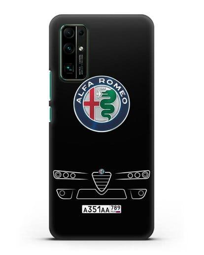 Чехол Alfa Romeo с номерным знаком силикон черный для Honor 30
