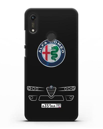 Чехол Alfa Romeo с номерным знаком силикон черный для Honor 8A Prime
