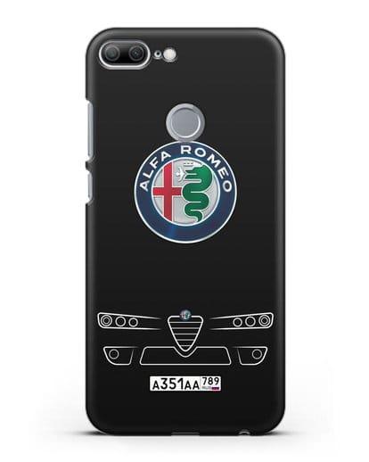 Чехол Alfa Romeo с номерным знаком силикон черный для Honor 9 Lite