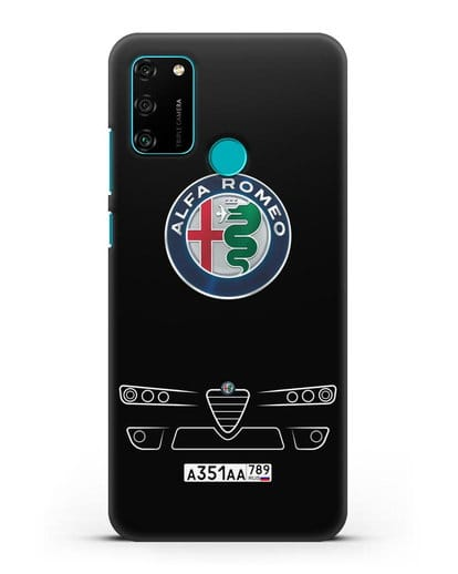 Чехол Alfa Romeo с номерным знаком силикон черный для Honor 9A