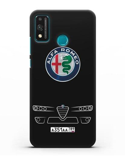 Чехол Alfa Romeo с номерным знаком силикон черный для Honor 9X lite