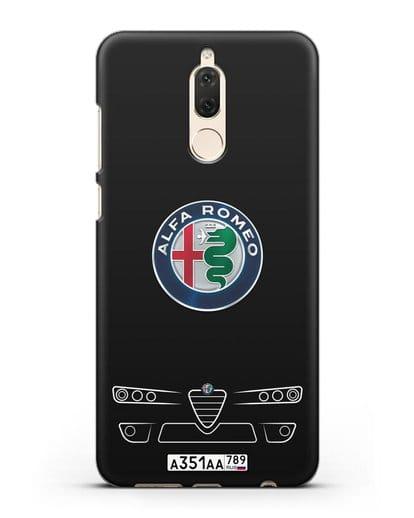 Чехол Alfa Romeo с номерным знаком силикон черный для Huawei Mate 10 Lite