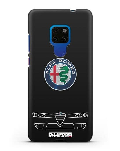 Чехол Alfa Romeo с номерным знаком силикон черный для Huawei Mate 20
