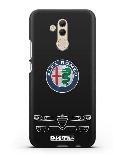 Чехол Alfa Romeo с номерным знаком силикон черный для Huawei Mate 20 Lite