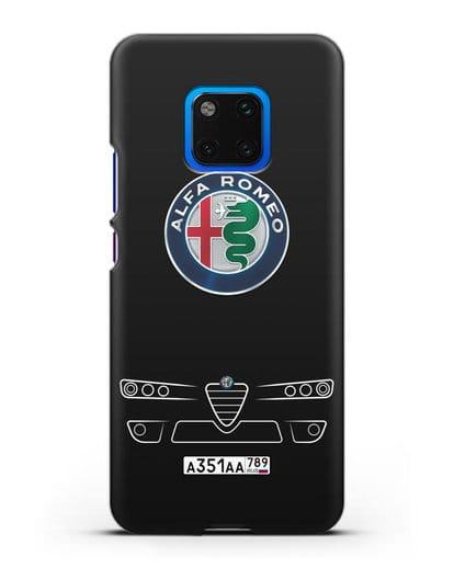 Чехол Alfa Romeo с номерным знаком силикон черный для Huawei Mate 20 Pro