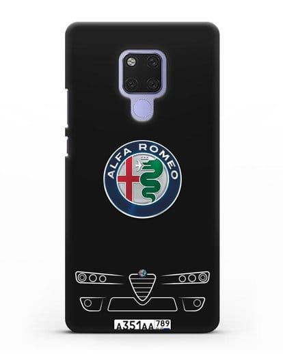 Чехол Alfa Romeo с номерным знаком силикон черный для Huawei Mate 20X