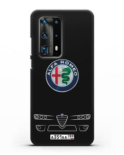 Чехол Alfa Romeo с номерным знаком силикон черный для Huawei P40 Pro