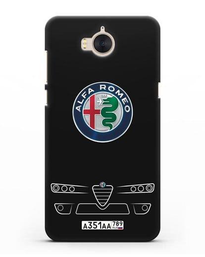 Чехол Alfa Romeo с номерным знаком силикон черный для Huawei Y5 2017