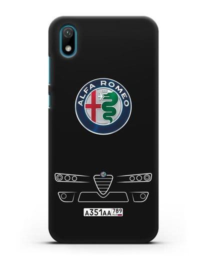 Чехол Alfa Romeo с номерным знаком силикон черный для Huawei Y5 2019