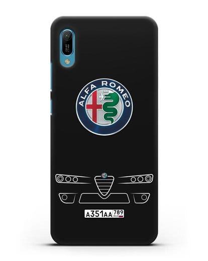 Чехол Alfa Romeo с номерным знаком силикон черный для Huawei Y6 2019