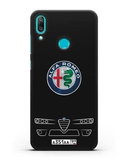 Чехол Alfa Romeo с номерным знаком силикон черный для Huawei Y7 2019