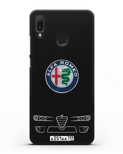 Чехол Alfa Romeo с номерным знаком силикон черный для Huawei Y9 2019