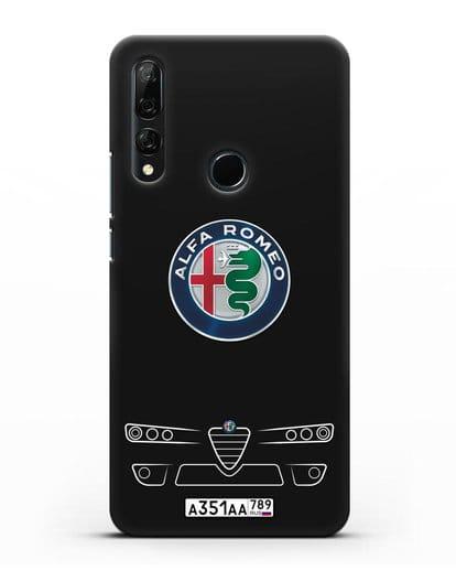 Чехол Alfa Romeo с номерным знаком силикон черный для Huawei Y9 Prime 2019