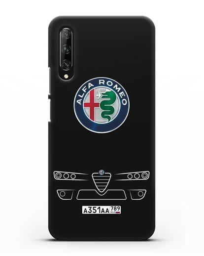 Чехол Alfa Romeo с номерным знаком силикон черный для Huawei Y9s