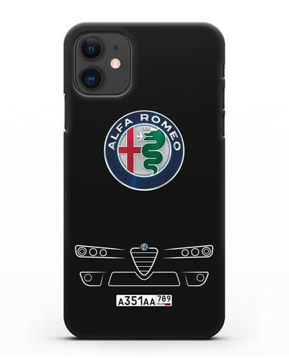 Чехол Alfa Romeo с номерным знаком силикон черный для iPhone 11