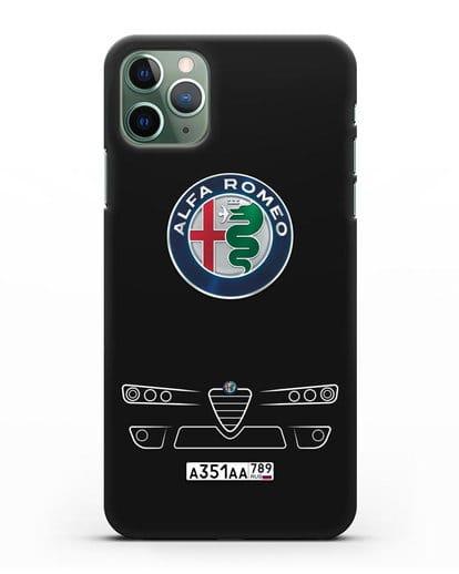Чехол Alfa Romeo с номерным знаком силикон черный для iPhone 11 Pro
