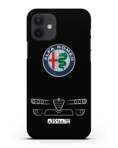 Чехол Alfa Romeo с номерным знаком силикон черный для iPhone 12
