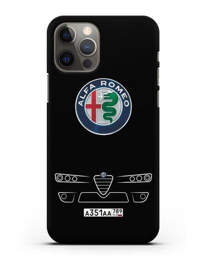 Чехол Alfa Romeo с номерным знаком силикон черный для iPhone 12 Pro